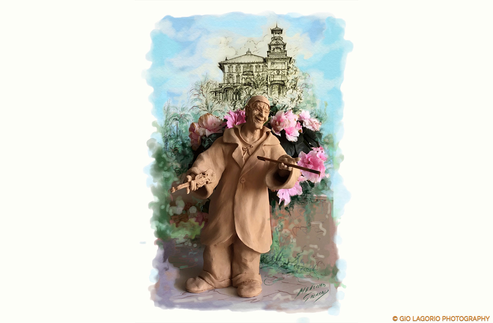 Terracotta di Massimo Gilardi raffigurante Grock