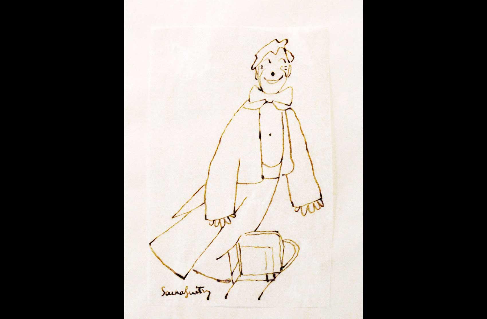 Disegno raffigurante Grock del celebre commediografo Sacha Guitry · Collezione privata Dr Alain Frèr