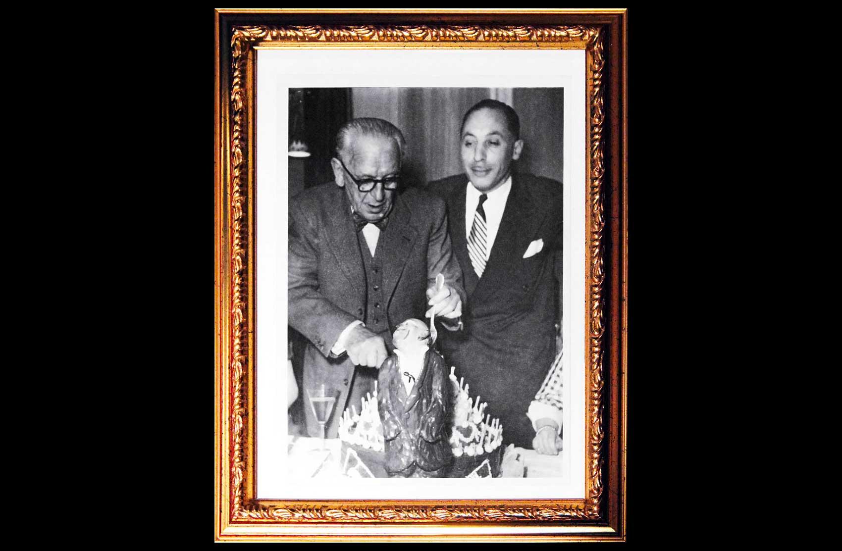 Foto del compleanno di Grock  con Jerome Medrano · Collezione privata Dr Alain Frère