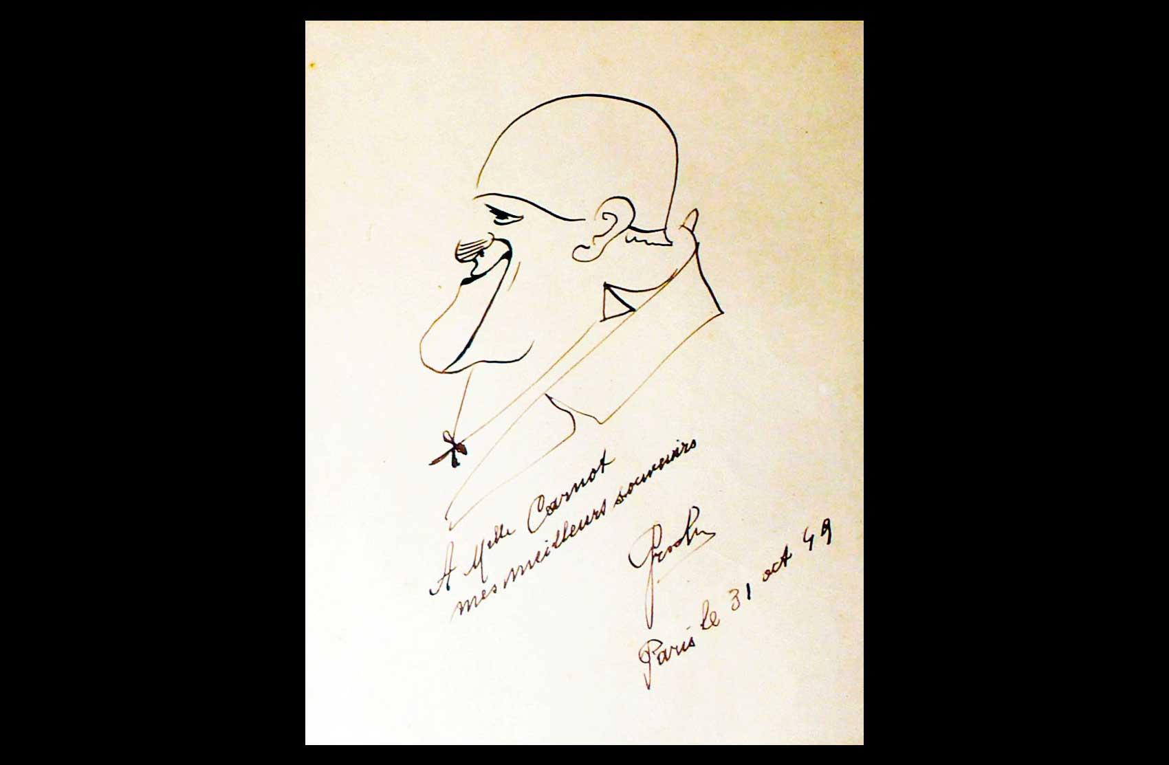 Caricatura autografa di Grock · Collezione privata Dr Alain Frère
