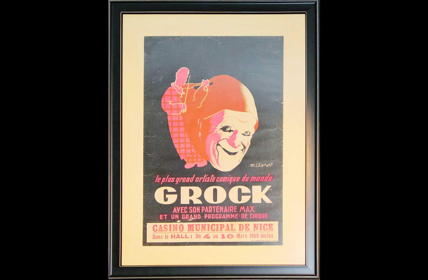 Affiche dello spettacolo di Grock nel 1949 a Nizza
